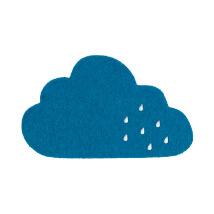 La Mia 12x7 cm 10'lu Petrol Mavi Bulut Keçe Motifler - M45