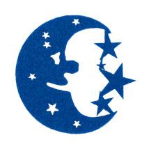 La Mia 5.5x6 cm 10'lu Saks Mavi Aydede Keçe Motifler - FS300-M347