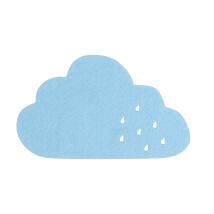 La Mia 12x7 cm 10'lu Açık Mavi Bulut Keçe Motifler - M39