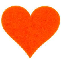 La Mia 3.5x4 cm 25'li Neon Turuncu Büyük Boy Kalp Keçe Motifler FS309-M19