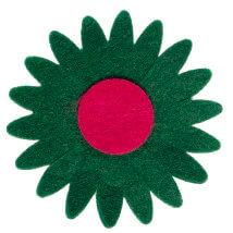 La Mia 7x7 cm 25'li Zümrüt Yeşil Ayçiçek Keçe Motifler - CS201