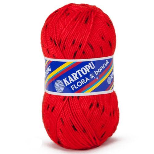 Kartopu Flora Boncuk Kırmızı El Örgü İpi - H313