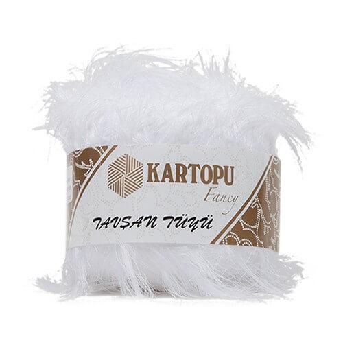 Kartopu 5'li paket Tavşan Tüyü Sakallı Beyaz El Örgü İpi - KF3000