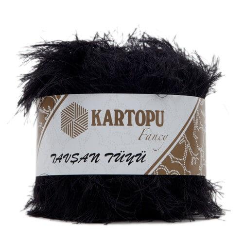 Kartopu 5'li paket Tavşan Tüyü Sakallı Siyah El Örgü İpi - KF3001