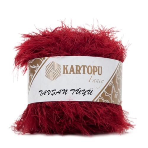 Kartopu 5'li paket Tavşan Tüyü Sakallı Kırmızı El Örgü İpi - KF3006