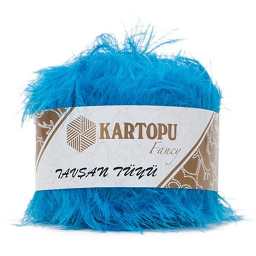 Kartopu 5'li paket Tavşan Tüyü Sakallı Mavi El Örgü İpi - K515