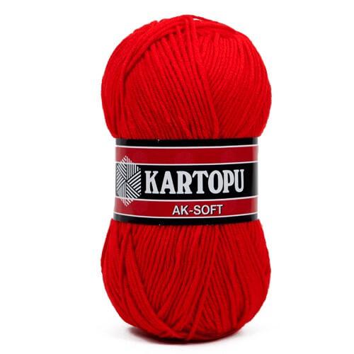 Kartopu Ak-Soft Kırmızı El Örgü İpi - K150