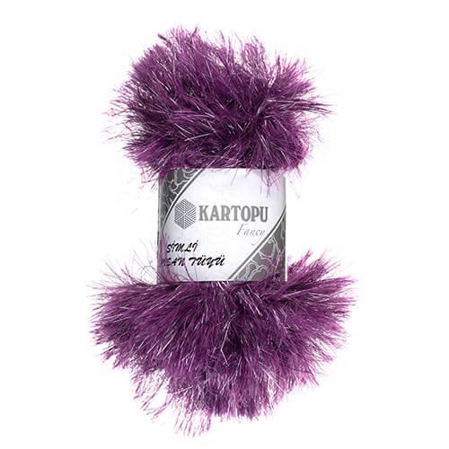 Kartopu 5'li paket Simli Tavşan Sakallı Tüyü Sakallı Mor El Örgü İpi - K728