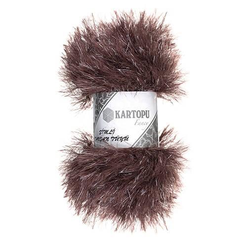 Kartopu 5'li paket Simli Tavşan Sakallı Tüyü Sakallı Kahverengi El Örgü İpi - KF3009