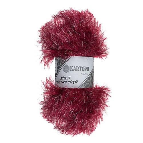 Kartopu 5'li paket Simli Tavşan Sakallı Tüyü Sakallı Bordo El Örgü İpi - KF3006