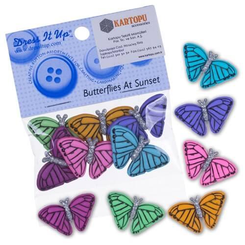 Kartopu Renkli Kelebek Şeklinde Dekoratif Düğme - 4820