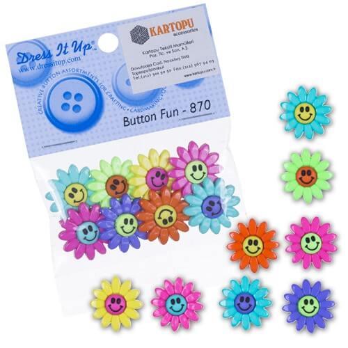 Dress It Up Karışık Renk Çiçekli Dekoratif Düğme - 870