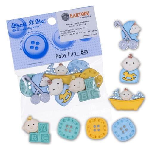 Dress It Up Erkek Bebek Temalı Dekoratif Düğme - 5196