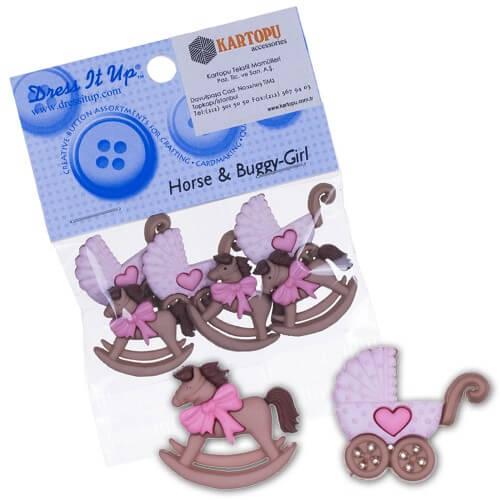 Dress It Up Karışık Renk At ve Bebek Arabası Dekoratif Düğme - 5824
