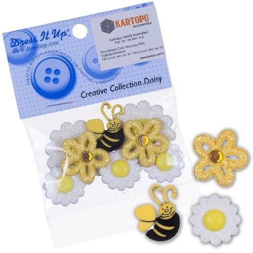 Dress It Up Arı ve Papatyalar Dekoratif Düğme - 166