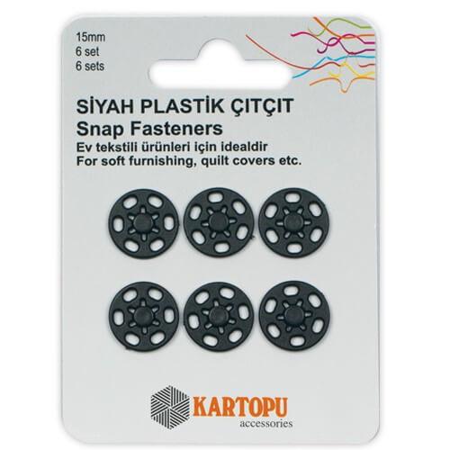 Kartopu 15 mm Siyah 6 Set Plastik Çıt Çıt - K007.1.0028