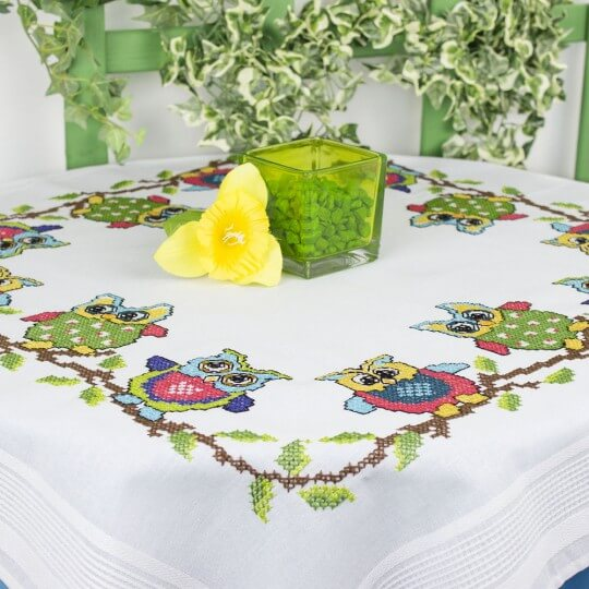 Duftin Baykuş Desenli Kare Masa Örtüsü Etamin Kiti - 1363-AA0084