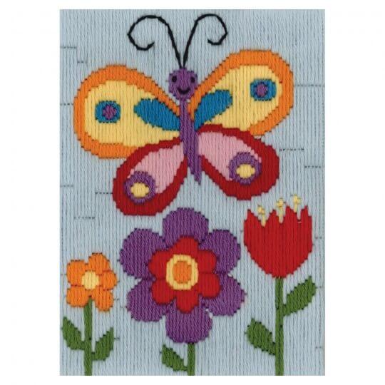 Duftin 15x15 cm Kelebek Desenli Resim Uzun İşleme Kiti