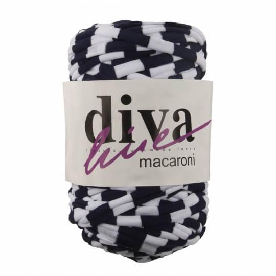 Diva Macaroni Desenli Lacivert Beyaz El Örgü İpi