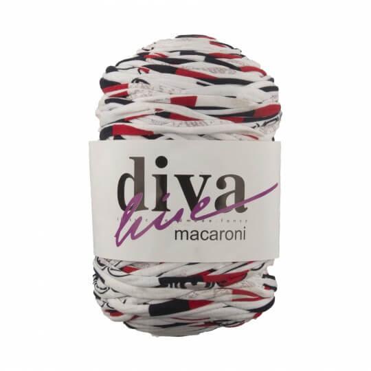 Diva Macaroni Desenli Kırmızı Siyah El Örgü İpliği
