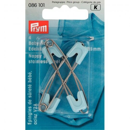 PRYM 4 Adet Mavi Başlıklı Çelik Çengelli Bebek İğnesi - 086101