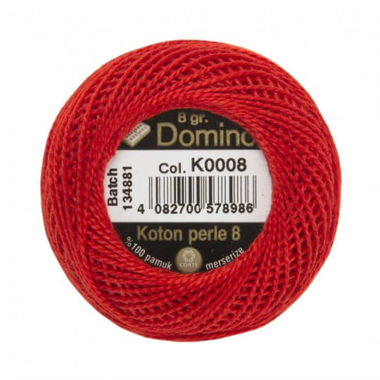Domino Koton Perle 8gr Kırmızı No:8 Nakış İpliği - K0008