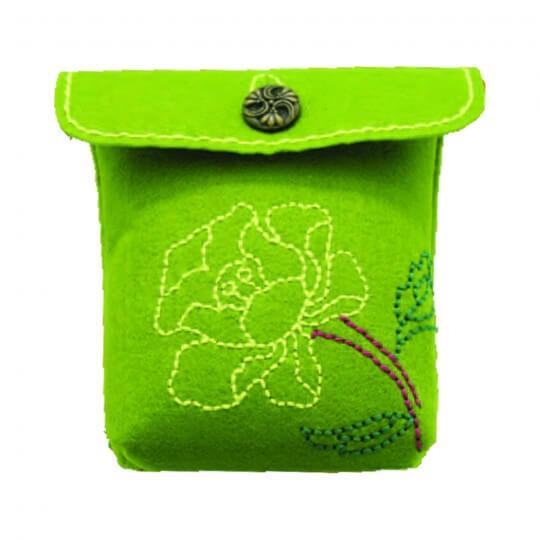 Kleiber Yeşil Çiçekli Omuz Tipi Keçe Çanta Kiti - 931-36