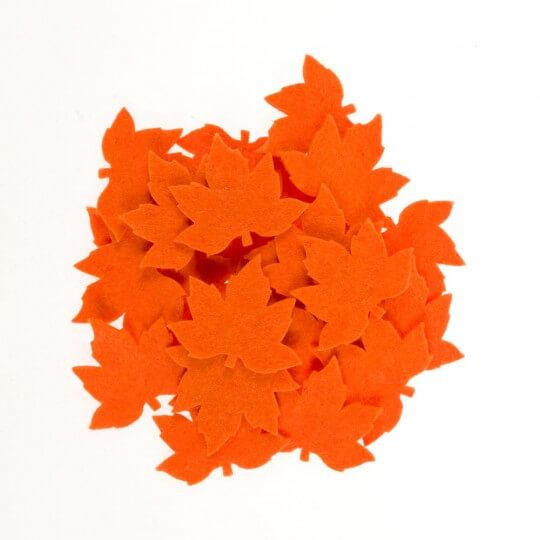 La Mia 3.5x5.5 cm 25'li Neon Turuncu Çınar Yaprak Keçe Motifler