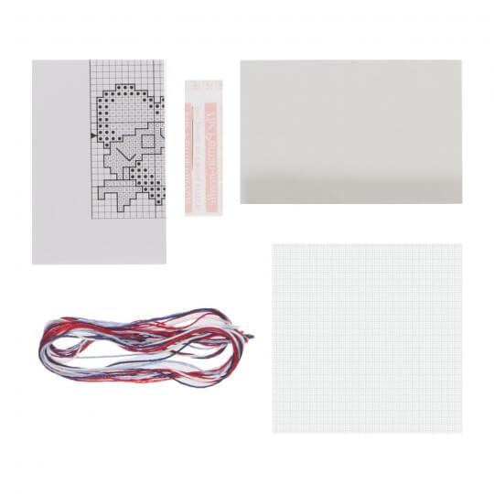 Permin 10x10 Kalp Desenli Mini Etamin Kiti - 794763
