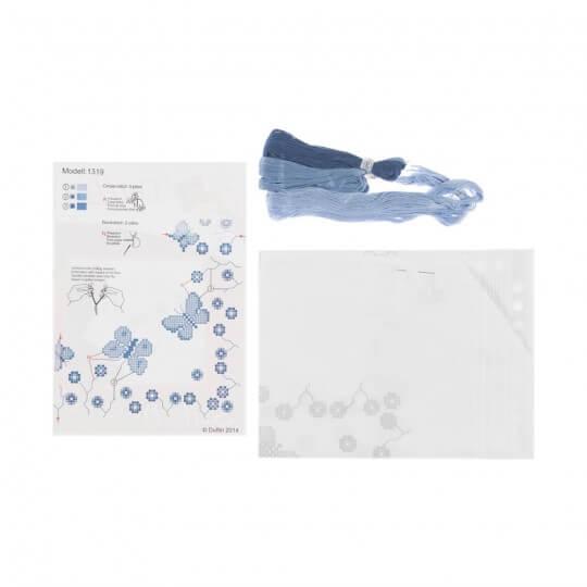 Duftin Mavi Kelebek Masa Örtüsü  Etamin Kiti - 1319-AA0084