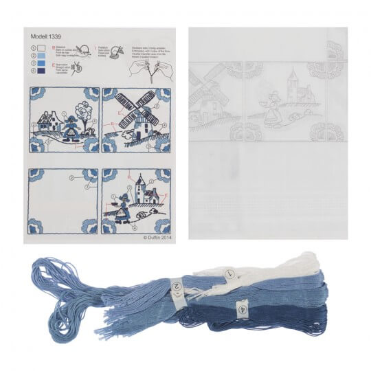 Duftin 80x80 cm Kare Masa Örtüsü Çin İğnesi Nakış Kiti - 1339-AA0084