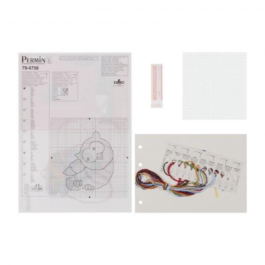 Permin 10x10 Baykuş Desenli Mini Etamin Kiti - 794758