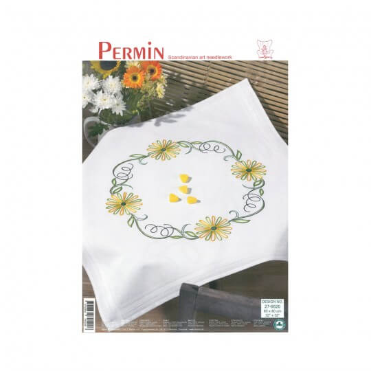Permin 80x80 Sarı Çiçek Desenli Masa Örtüsü Zincir İşi Nakış Kiti - 279520