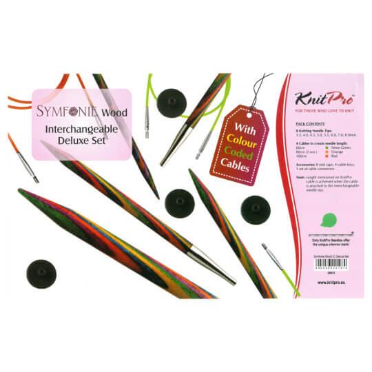 KnitPro Symfonie Deluxe Ahşap Değiştirilebilir Misinalı Şiş Seti - 20613
