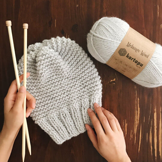 Kartopu Melange Wool Bej El Örgü İpi - MK00890
