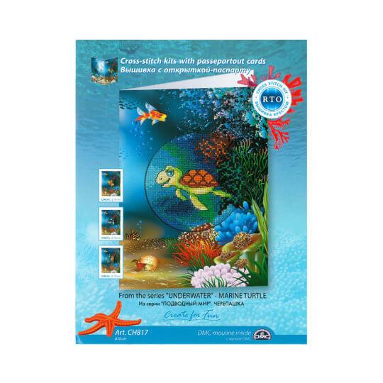 RTO Baltic Sualtı Serisi 8,5 x 13 cm Deniz Kaplumbağası Desenli Kartpostal Etamin Kiti - CH817