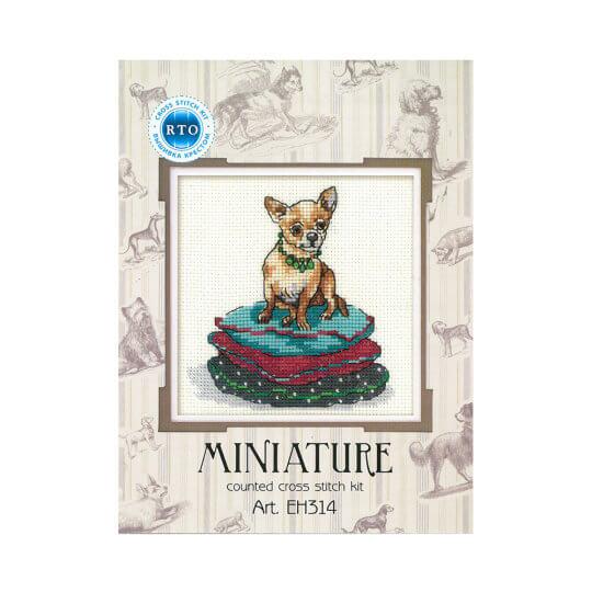 RTO Baltic Minyatür Serisi 12 x 12 cm Chihuahua Köpek Desenli Etamin Kiti - EH314