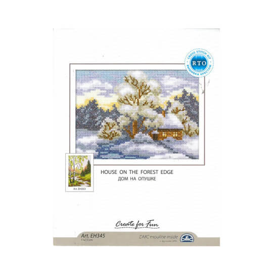 RTO Baltic 11 x 17,5 cm Karlı Orman Evi Desenli Etamin Kiti - EH345