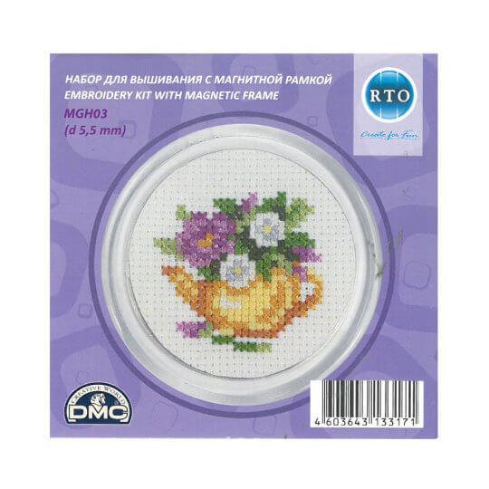 RTO Baltic 5,5 cm Çapında Mor Çiçek Desenli Magnet Etamin Kiti - MGH03