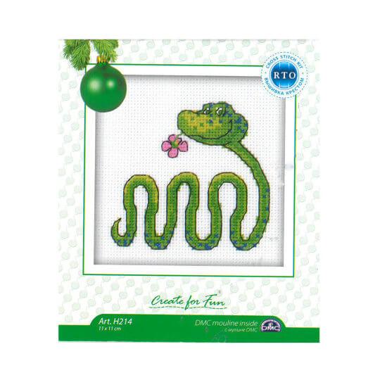 RTO Baltic 10 x 10 cm Sevimli Yeşil Yılan Desenli Etamin Kiti - H214