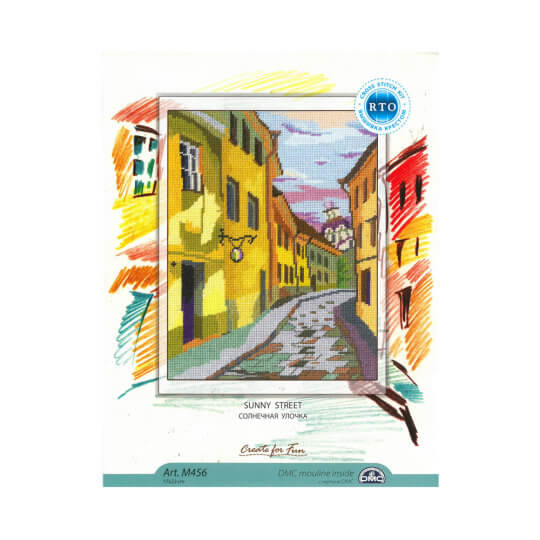 RTO Baltic 17 x 23 cm Renkli Sokak Desenli Etamin Kiti - M456