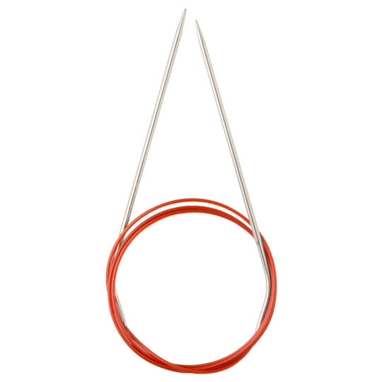 ChiaoGoo Knit Red 2,00 mm 100 cm Paslanmaz Çelik Misinalı Şiş - 6040-0