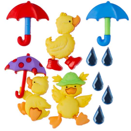 Dress It Up Ördek ve Şemsiye Dekoratif Düğme - 8978