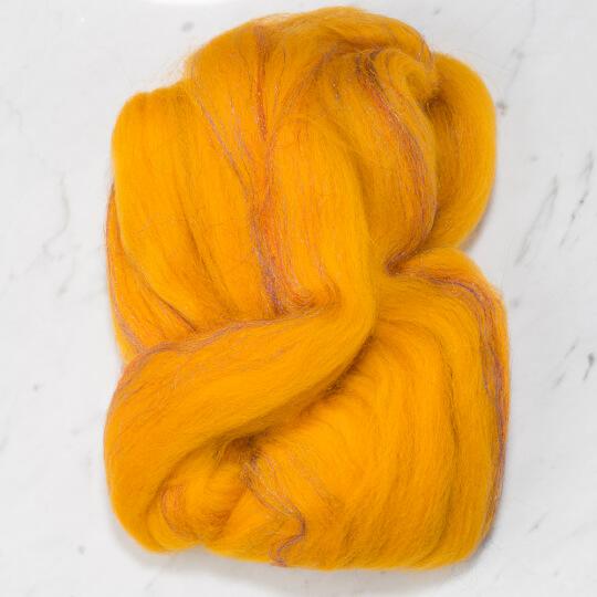 Gazzal Felt Wool Lurex Sarı Ebruli Yün Keçe - 6005