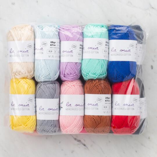La Mia Mini Mercerized Cotton 20'li Paket Renkli El Örgü İpi