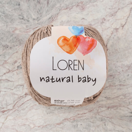 Loren Natural Baby Koyu Bej El Örgü İpi - R085