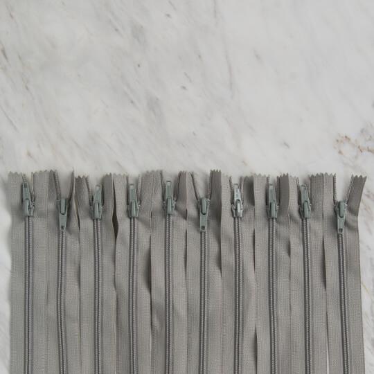 Loren 10 adet 16 Cm Açık Gri Dipli Naylon Fermuar