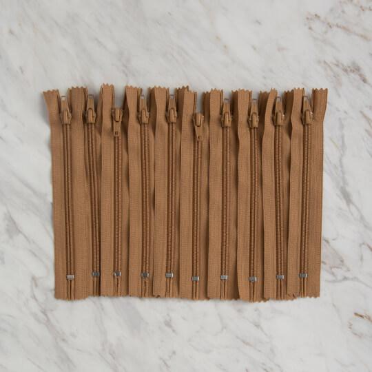 Loren 10 adet 16 Cm Açık Kahverengi Dipli Naylon Fermuar