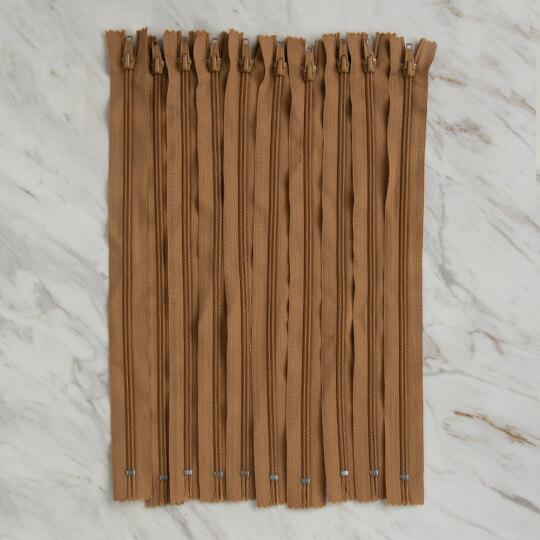Loren 10 adet 35 Cm Açık Kahverengi Dipli Naylon Fermuar