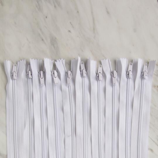 Loren 10 adet 30 Cm Beyaz Dipli Naylon Fermuar